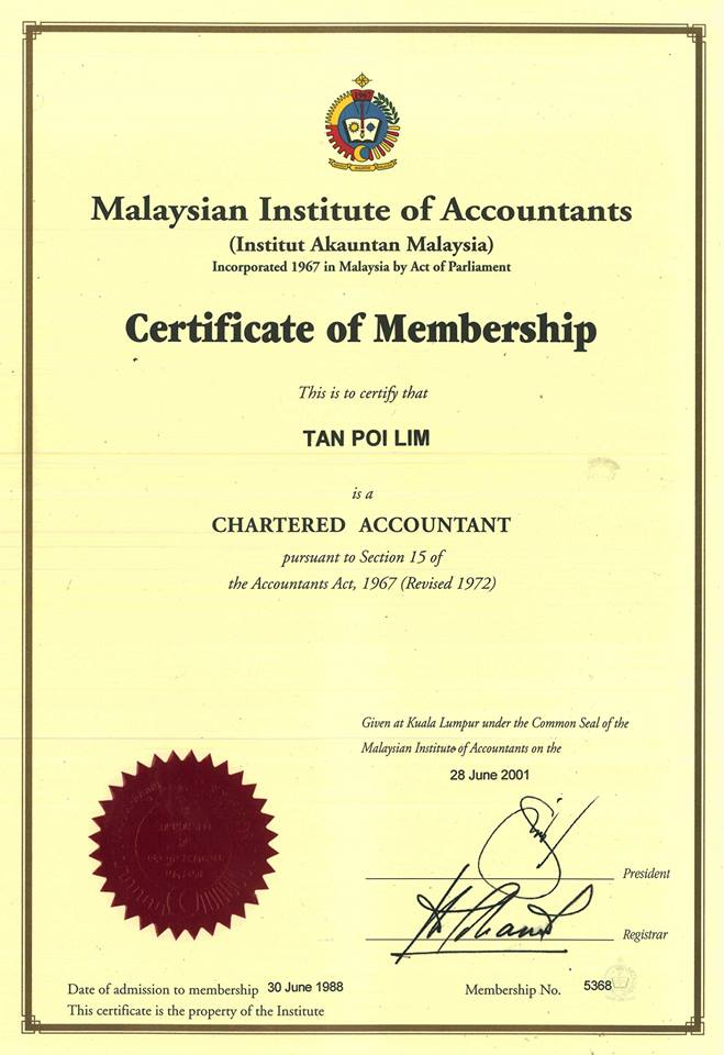 Verified certificate from Malaysia Institute of Accountants (Institut Akauntan Malaysia)