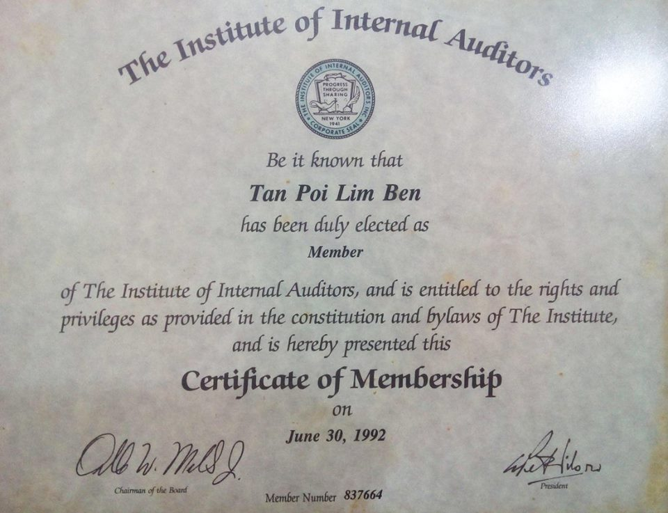Verified certificate from The Institute of Internal Auditors